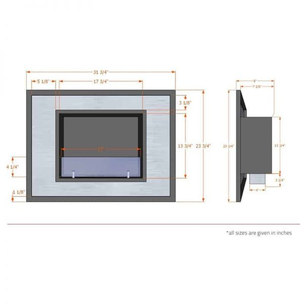 Regal Flame ER8004 Austin 32 in. Ventless Built-In Recessed Bio Ethanol Wall Mounted Fireplace 5