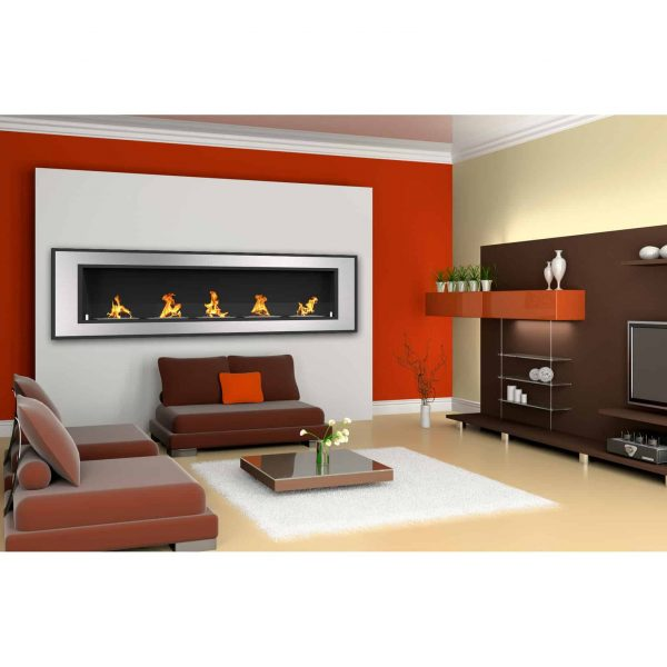 Regal Flame ER8017 Cynergy 72 in. Ventless Built-In Recessed Bio Ethanol Wall Mounted Fireplace 4