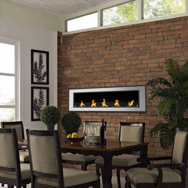 Regal Flame ER8017 Cynergy 72 in. Ventless Built-In Recessed Bio Ethanol Wall Mounted Fireplace 5