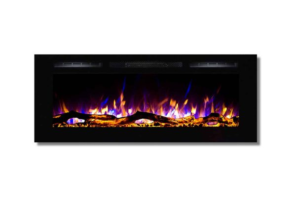 Regal Flame LW2050WL-GL Fusion 50 in. Log Built-in Ventless Recessed Wall Mounted Electric Fireplace 2