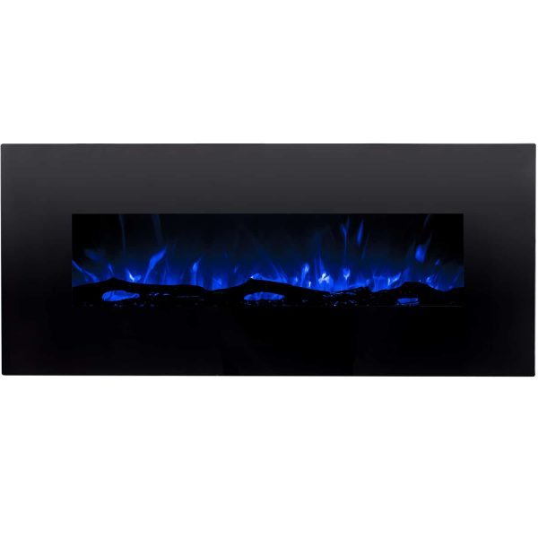 Regal Flame LW5050BK Ashford 50in Black Electric Wall Mounted Fireplace - Log 1