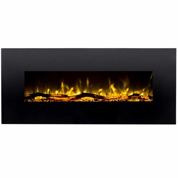 Regal Flame LW5050BK Ashford 50in Black Electric Wall Mounted Fireplace - Log 2