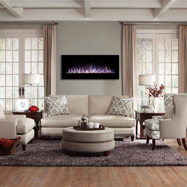 Regal Flame LW5050PF-MF 50 in. Rigel Pebble Ventless Heater Electric Wall Mounted Fireplace, Black 3