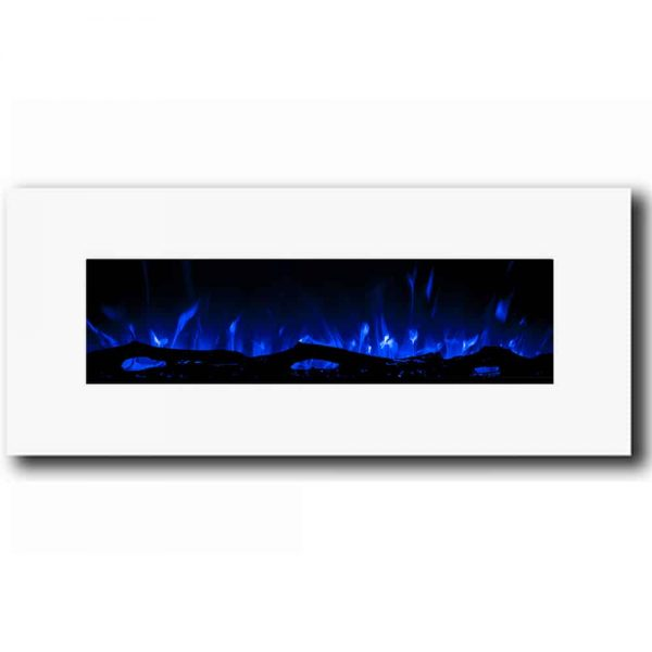 Regal Flame LW5050WH Ashford 50in White Electric Wall Mounted Fireplace - Log 1