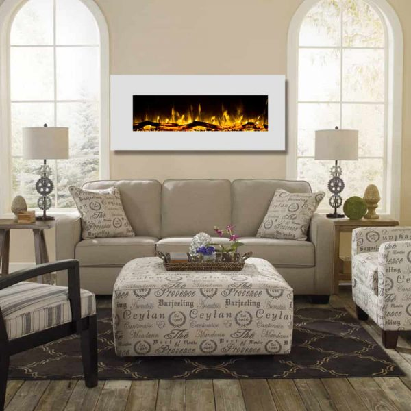 Regal Flame LW5050WH Ashford 50in White Electric Wall Mounted Fireplace - Log 2