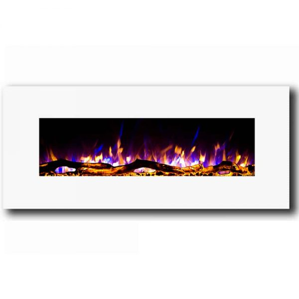 Regal Flame LW5050WH Ashford 50in White Electric Wall Mounted Fireplace - Log