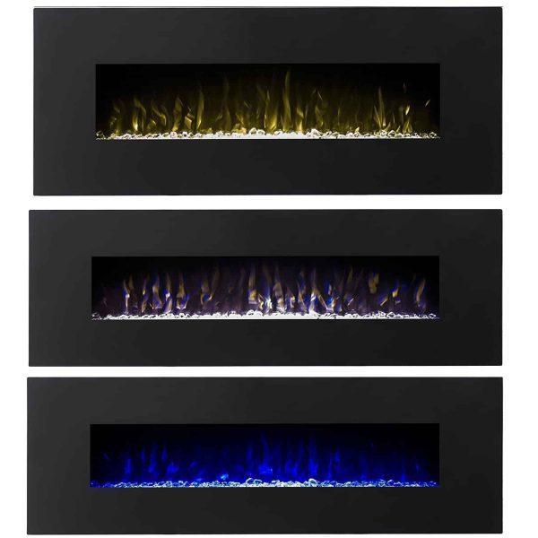 Regal Flame LW5060BK Denali 60in Black Electric Wall Mounted Fireplace 1
