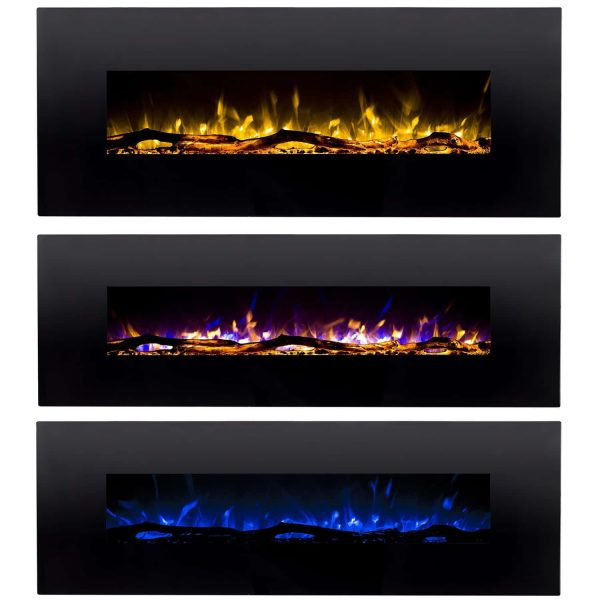 Regal Flame LW5060BK Denali 60in Black Electric Wall Mounted Fireplace 2
