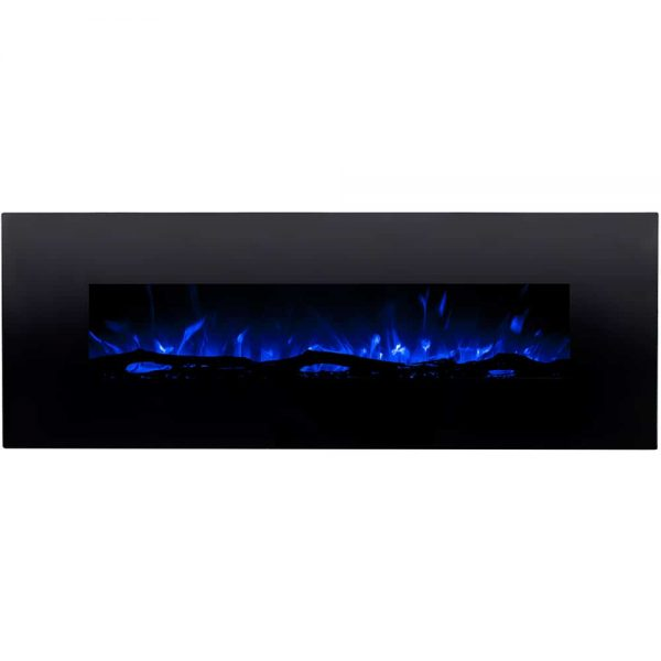 Regal Flame LW5072LE Erie 72in Black Electric Wall Mounted Fireplace - Log 1
