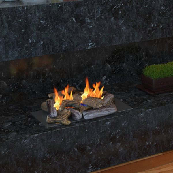 Regal Flame Set of 18 Ceramic Fiber Petite Propane Gel Ethanol or Gas Fireplace Logs 2