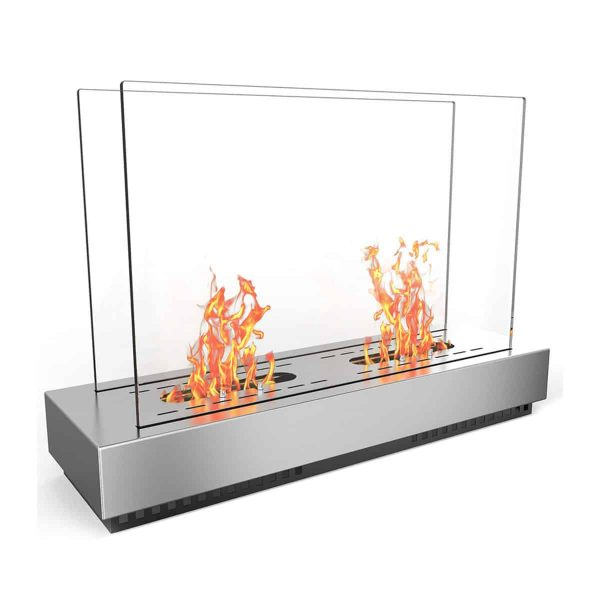 Regal FlamePhoenix Ventless Free Standing Ethanol Fireplace In Stainless Steel
