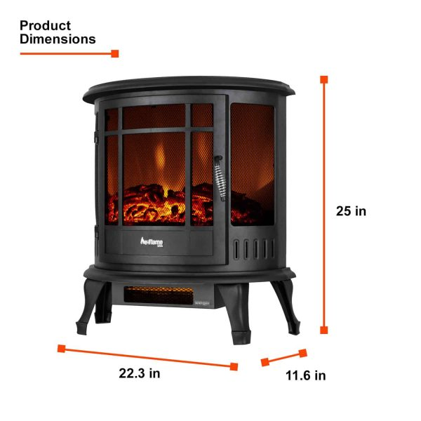 Regal Free Standing Electric Fireplace Stove by e-Flame USA - Black 1