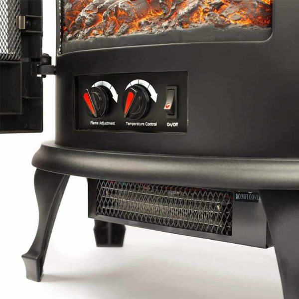 Regal Free Standing Electric Fireplace Stove by e-Flame USA - Black 3