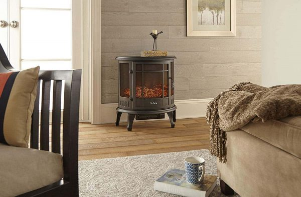 Regal Free Standing Electric Fireplace Stove by e-Flame USA - Black 6