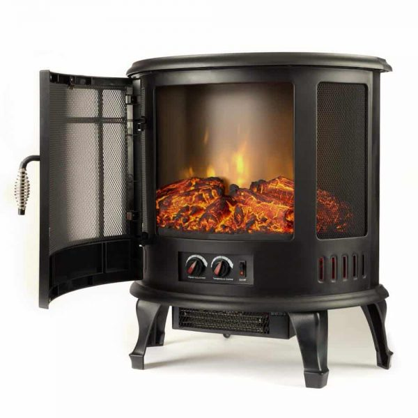 Regal Free Standing Electric Fireplace Stove by e-Flame USA - Black 7
