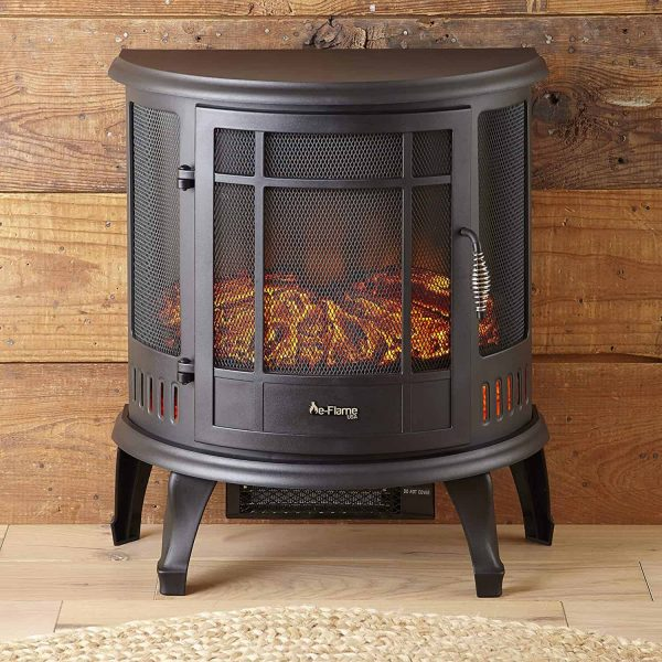Regal Free Standing Electric Fireplace Stove by e-Flame USA - Black 8