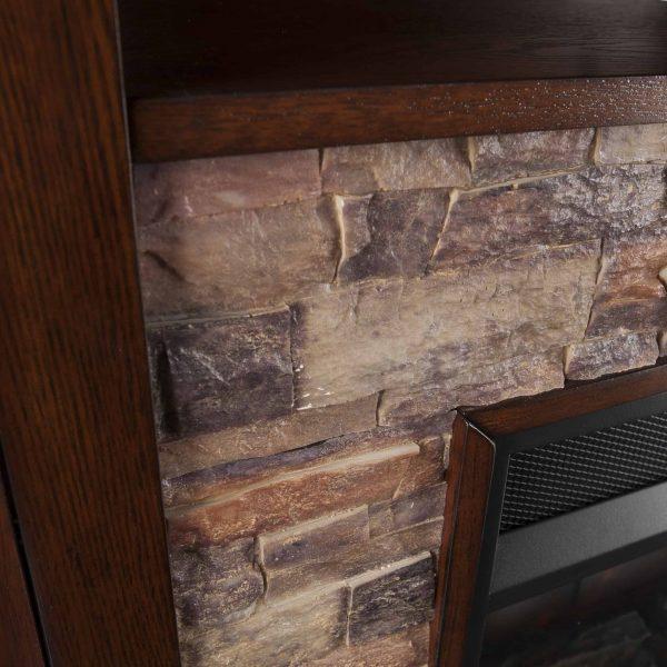 Renstone Corner Convertible Smart Fireplace w/ Storage – Espresso 1