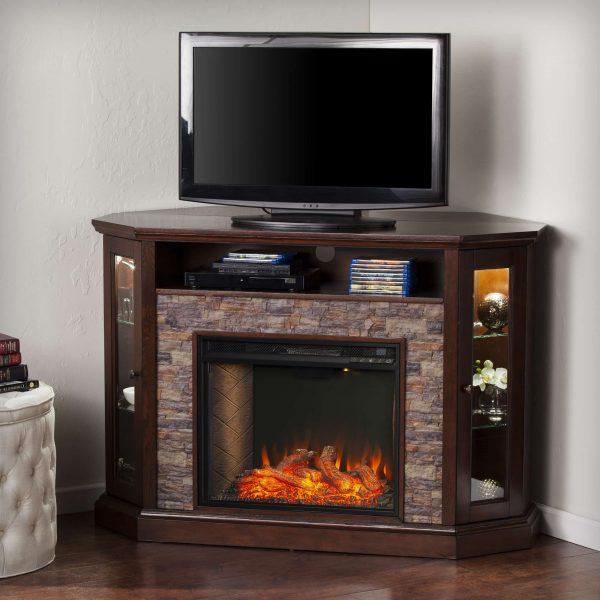 Renstone Corner Convertible Smart Fireplace w/ Storage – Espresso 2