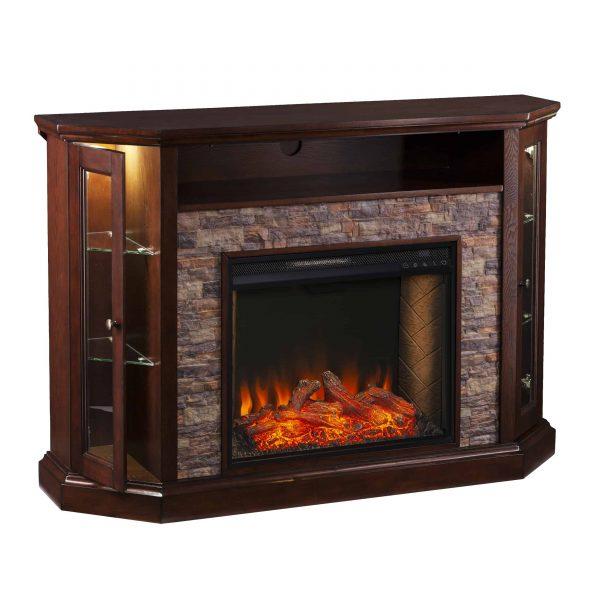 Renstone Corner Convertible Smart Fireplace w/ Storage – Espresso 4