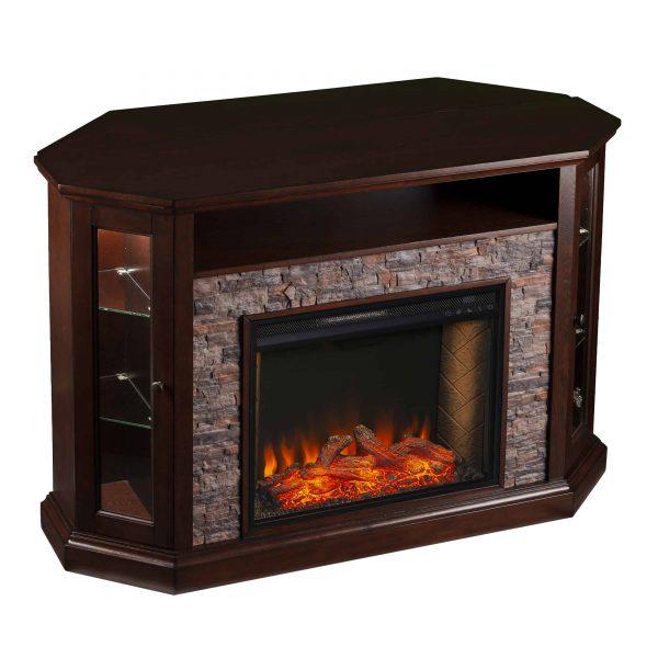 Renstone Corner Convertible Smart Fireplace w/ Storage – Espresso 5