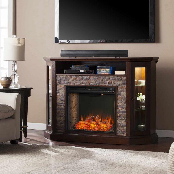 Renstone Corner Convertible Smart Fireplace w/ Storage – Espresso