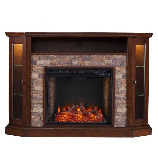 Renstone Corner Convertible Smart Fireplace w/ Storage – Espresso 7