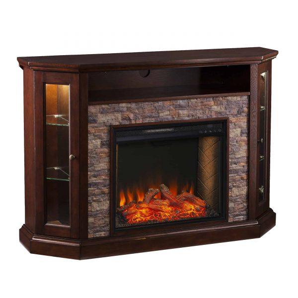 Renstone Corner Convertible Smart Fireplace w/ Storage – Espresso 8