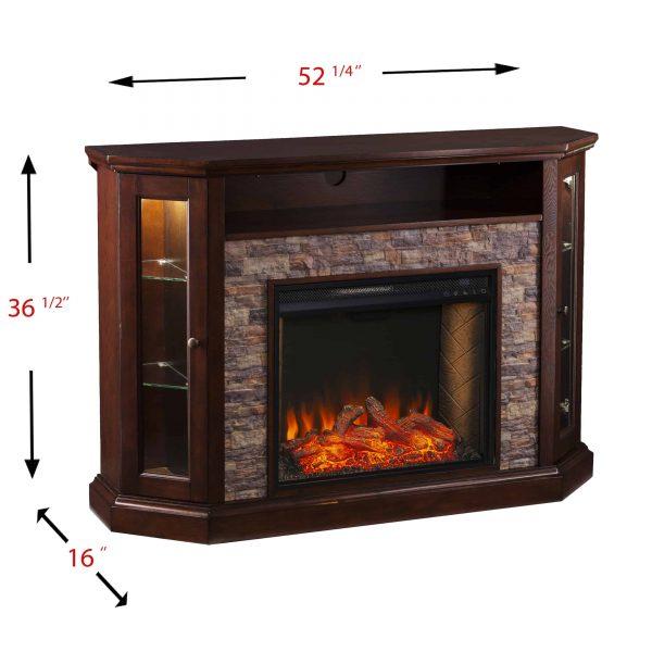 Renstone Corner Convertible Smart Fireplace w/ Storage – Espresso 9