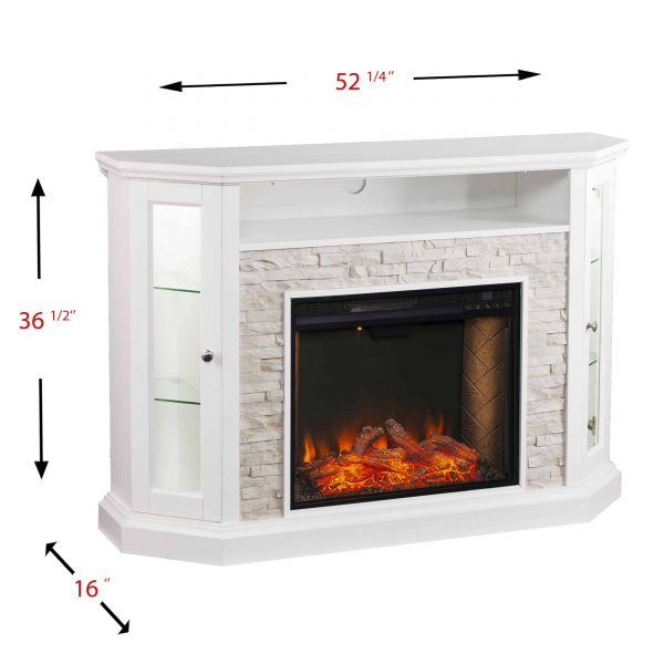 Renstone Corner Convertible Smart Fireplace w/ Storage – White 3
