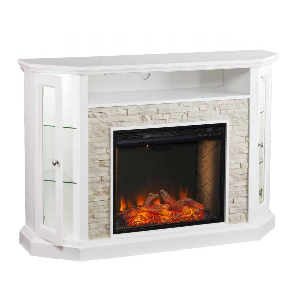 Renstone Corner Convertible Smart Fireplace w/ Storage – White 4