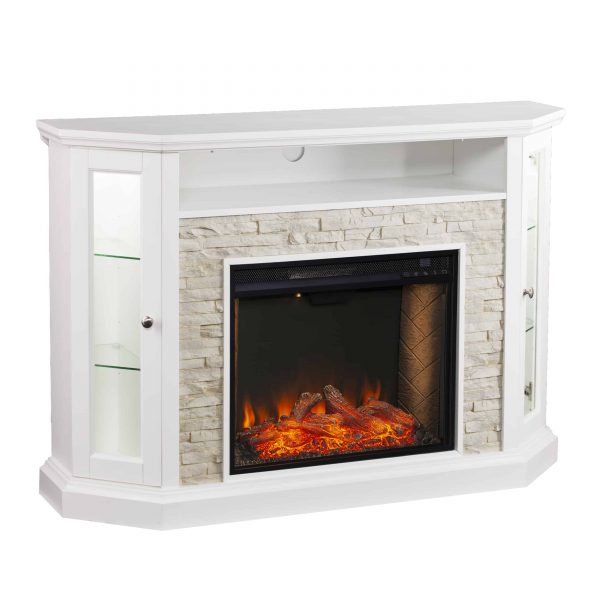 Renstone Corner Convertible Smart Fireplace w/ Storage – White 5