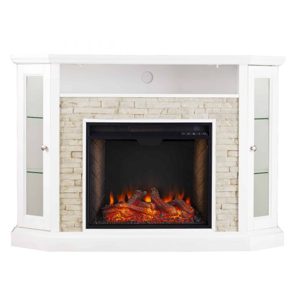 Renstone Corner Convertible Smart Fireplace w/ Storage – White 6