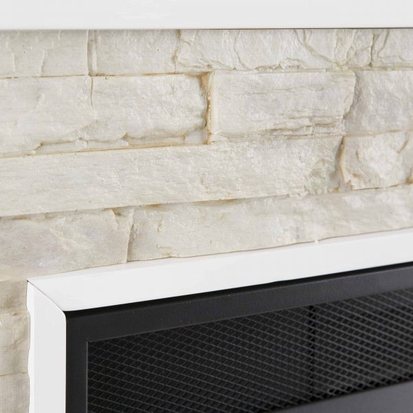 Renstone Corner Convertible Smart Fireplace w/ Storage – White 7