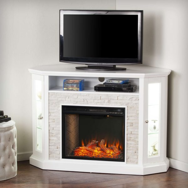 Renstone Corner Convertible Smart Fireplace w/ Storage – White 9