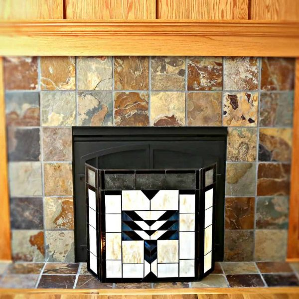 "River of Goods 14574 Amber 26"" X 38"" Mission Style Geometric Stained Glass Fireplace 1"