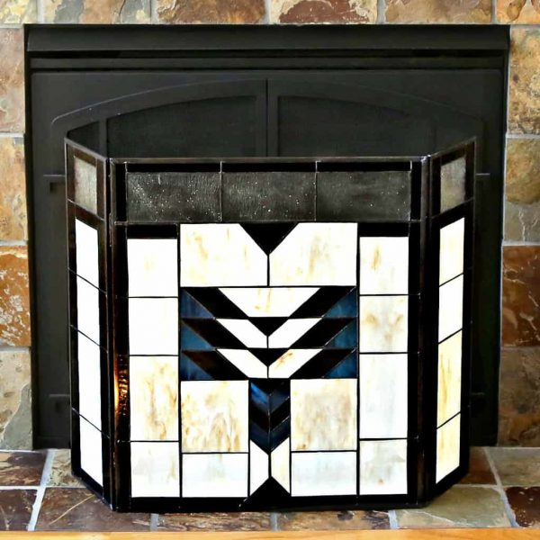 "River of Goods 14574 Amber 26"" X 38"" Mission Style Geometric Stained Glass Fireplace 2"