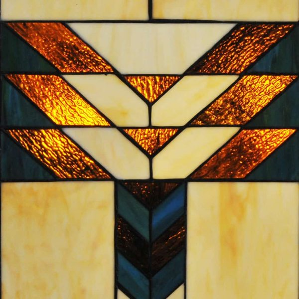 "River of Goods 14574 Amber 26"" X 38"" Mission Style Geometric Stained Glass Fireplace 4"