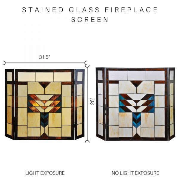 "River of Goods 14574 Amber 26"" X 38"" Mission Style Geometric Stained Glass Fireplace 5"