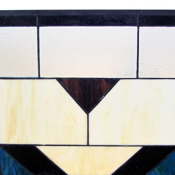 "River of Goods 14574 Amber 26"" X 38"" Mission Style Geometric Stained Glass Fireplace 6"