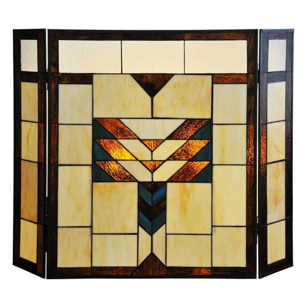 "River of Goods 14574 Amber 26"" X 38"" Mission Style Geometric Stained Glass Fireplace"