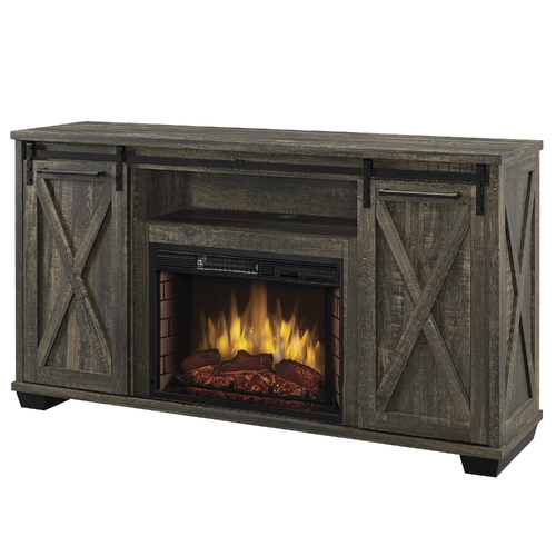 Rivington 58-in Infrared Media Electric Fireplace in Barnboard Gray