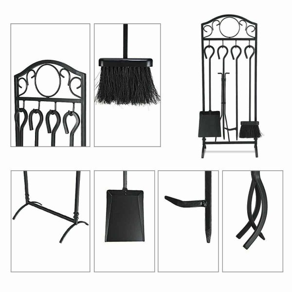 Robust 5pc Steel Fire Place Tool set 4 Fireplace Tools Stand Hearth Accessories 3
