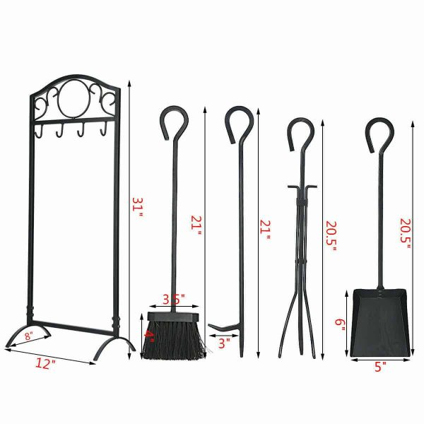 Robust 5pc Steel Fire Place Tool set 4 Fireplace Tools Stand Hearth Accessories 4