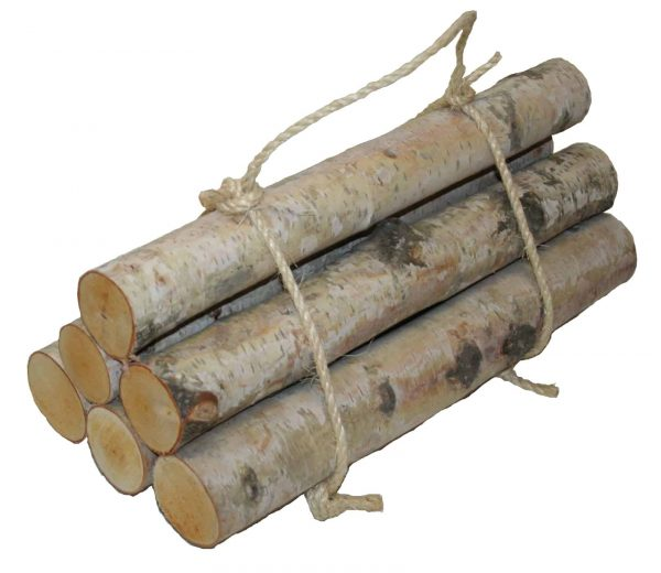 Roped Bundle of Birch Logs (set of 6)