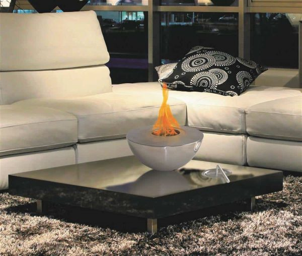 Round Fireplace in Polished Stainless Steel Finish 1