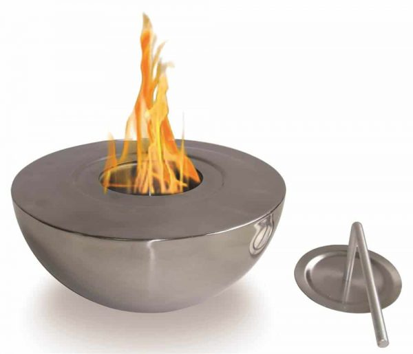 Round Fireplace in Polished Stainless Steel Finish