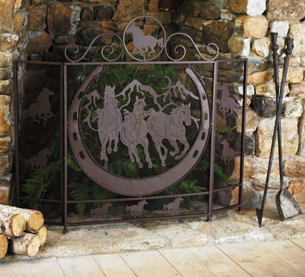 Running Horses Western Fireplace Screen - Southwestern Decor