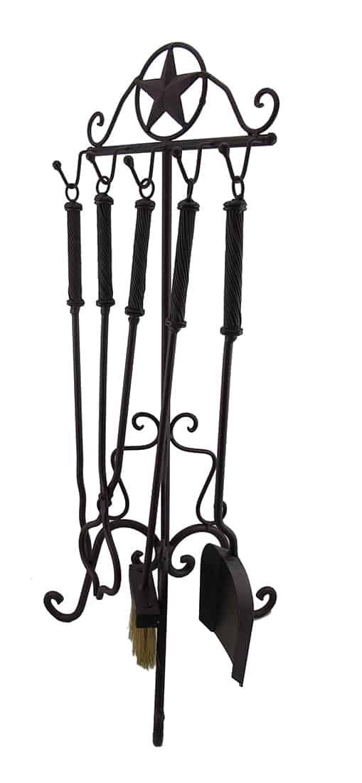 Rustic Western Star Wrought Iron Fireplace Tool Set 1