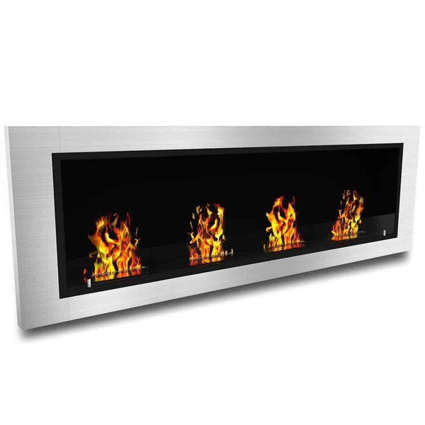 "Ryan Rove Charlotte 64"" Ventless Built Recessed Bio Ethanol Wall Mount Fireplace"