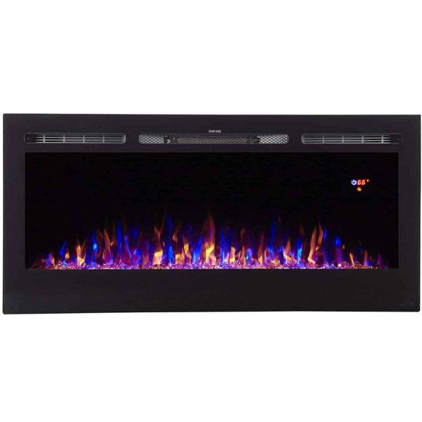 "Ryan Rove Essex 40""Built-In Ventless Recessed Wall Fireplace -Pebble Crystal Log 1"